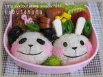キャラ弁 パンダさんとウサギさん